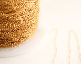 14k Gold Filled Chain by the Foot - 1.3mm Round Cable Chain - Thin Chain - Gold Chain - Wholesale Chain - Custom Length / GF-CH001