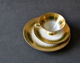 Vintage German Tea green cup saucer Mitterteich Dessert plate Bavaria German Ceramic porcelain decor