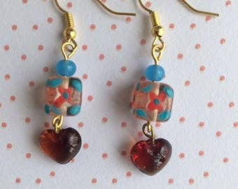 """Earrings """"Lili"""" short with red/blue tones beads"""