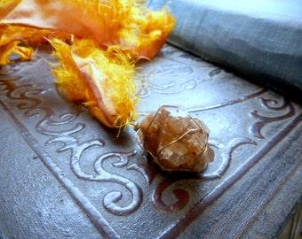 The Asteroid Necklace. Orange Aragonite Star Cluster & Vintage Tattered Sari Silk Autumnal necklace