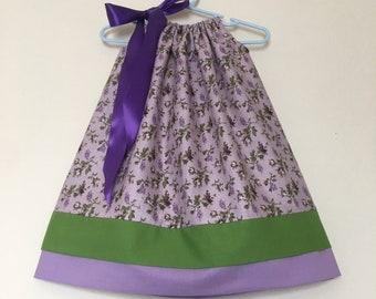 Girls size 18-24 months purple green floral pillowcase dress summer dress