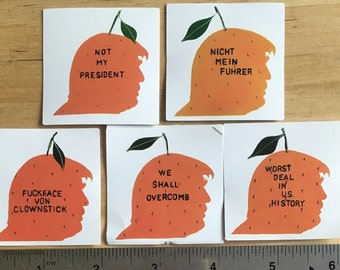 10 Trump Orange Stickers - As Many As You Want Of Each Design Totalling 10