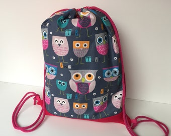 Cinch Bag 'Owl Family'