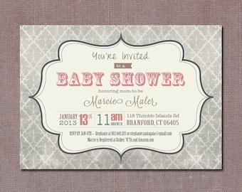 Girl's Vintage Baby Shower Invitation, Digital, Printable file