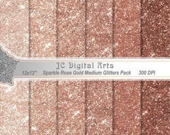 Rose Gold Sparkle Glitter Digital Paper pack