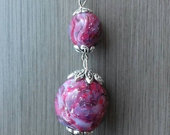Women with unique hand made polymer clay - molded pendant necklace