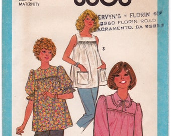 FF Vintage Simplicity 8606, 1970s Maternity Pullover Blouse Sewing Pattern, Ruffle Blouse 3 Variations, Size 12, Bust 34, UNCUT