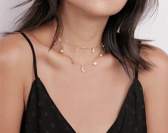 Dainty Gold Layering Star & Moon Dangle Choker Necklaces - Star moon Necklace - Bohemian Jewelry - Trendy Choker - Festival Jewelry