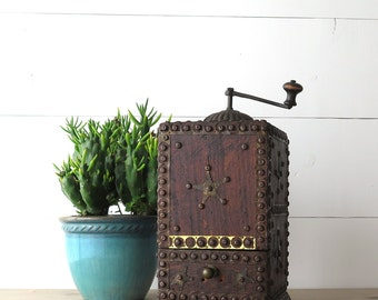 Antique Coffee Grinder, Folk Art, Large Coffee Mill, Brass Details, Texas Star, Unique Kitchen Decor