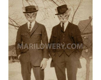 Cat Art Print, Animals in Clothes Abyssinian Cats in Suits, Retro Photography Sepia Wall Decor, frighten