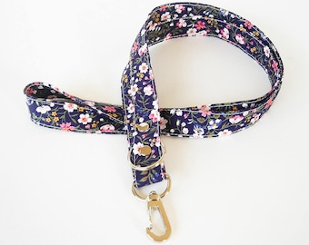 Navy Lanyard, Floral Fabric Lanyard, Work ID Holder, Key Lanyard, Teacher Lanyard, ID Badge Holder, Made To Order