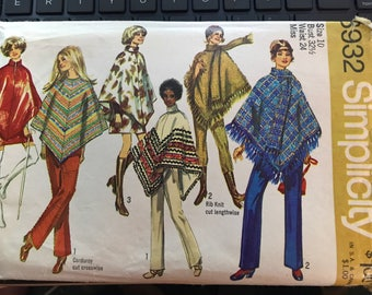 Vintage 70s Simplicity 8932 Poncho Pattern-Size 10 (32 1/2 Bust)
