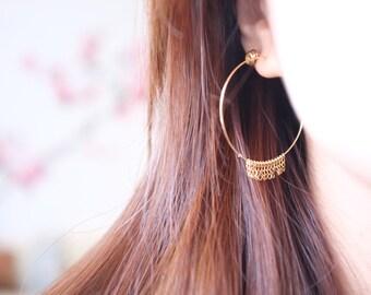 Fringe Hoop Earring / Gold Filled, Tassle, Frayed / Anabel Nove