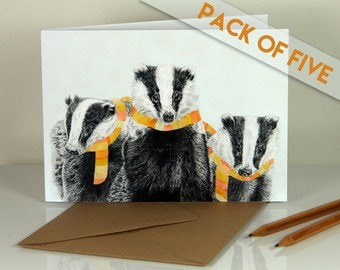 Winter badgers. Blank greeting cards. Pack of five.