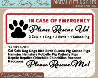 SVG Cutting File: Emergency Pet Rescue, Window Decal, Door Decal, Window Sticker, Door Sticker, SVG File For Silhouette, svg Format File