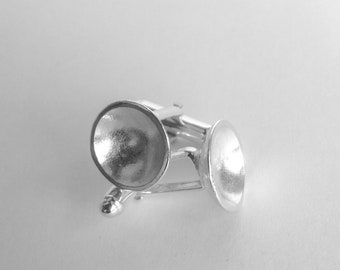 Sterling silver domed circle cuff links