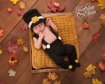 Newborn Pilgrim Photo Prop/ Baby Pilgrim Hat/ Thanksgiving Newborn Prop/ Baby Boy Prop/ Pilgrim Set