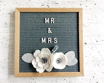 METALLIC Silver, Gray and White Felt Letter Board Flowers - Decor for Weddings, Photo Props, Parties, Showers and Every Day - White / Silver