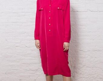 90s Vintage Pink Shirt Dress