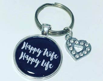 Happy Wife Happy Life,  Wife keyring, Wife keychain, gift for Wife