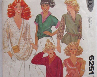 Women's Quick and Easy V-Neck Knit Tops Sewing Pattern - McCall's 6251 - Size Small (10 -12), Bust 32 1/2 - 34