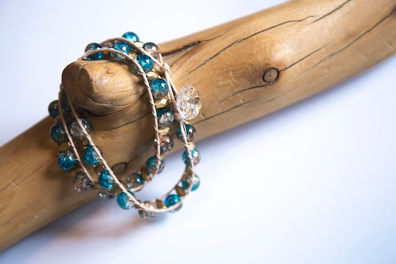 Double-Wrap Soft Suede and Bead Bracelet. Handmade, Blue/Green and Gold with Vintage Gilded Glass button.