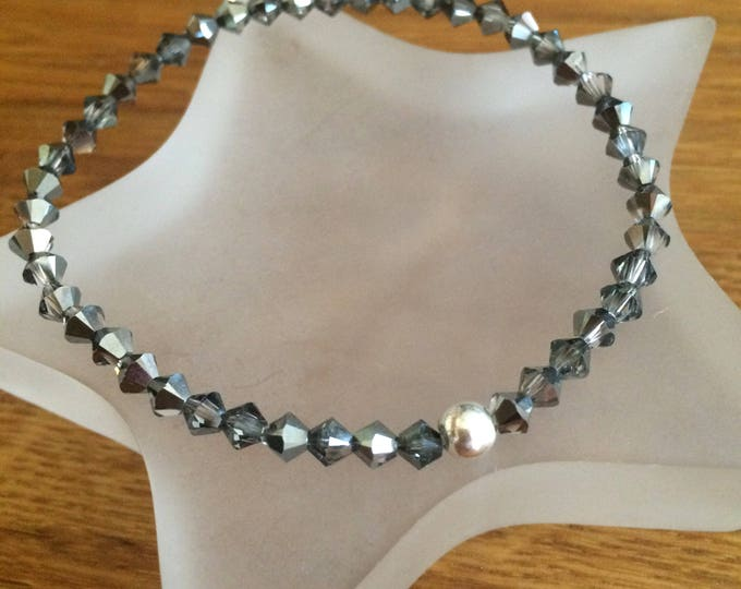 Silver grey Swarovski crystal stretch bracelet with Sterling Silver or 14k Gold fill bead