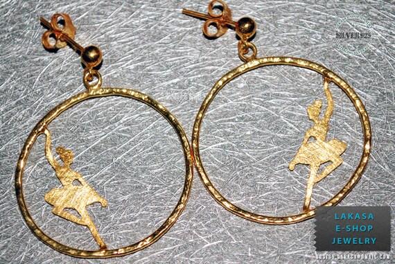 hoop earrings ballerina sterling silver jewelry gold-plated lakasa eshop best ideas gift for her woman ballet dancer girlfriend anniversary