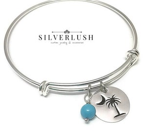 Silver Adjustable Bangle Bracelet - SC Palmetto with turquoise bead