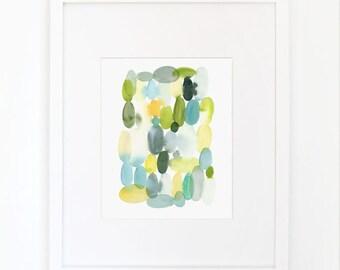 Ovals in Sap Green- Watercolor Art Print