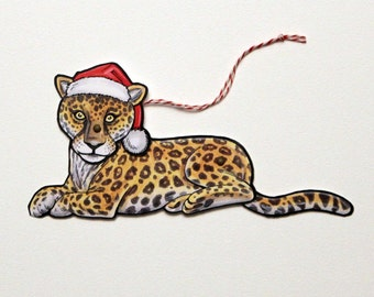 Jaguar Jointed Gift Tag or Christmas Ornament, Mini Rainforest Animal Paper Doll