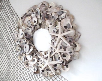 Nautical Oyster Shell Mirror, Starfish, Round