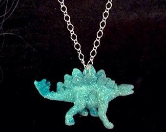 Dinosaur Glitter Necklace - Stegosaurus -  Pastel Goth - Punk - Aqua Blue / Teal Jewelry - Animal Pendant
