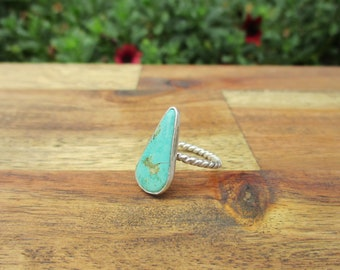 Aqua Turquoise Ring Size 5.5 / Sterling Silver Ring / Royston Turquoise Ring / Pear Shaped Turquoise / Mermaid Ring / Aqua Stone Ring