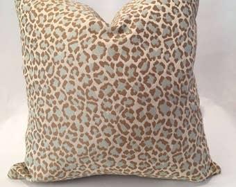"""18"""" Cheetah in Aqua from Fabricut"""