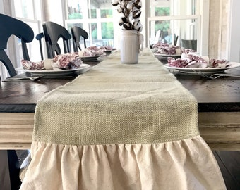 Burlap Table Runner Modern Rustic Home Decor Holiday Table