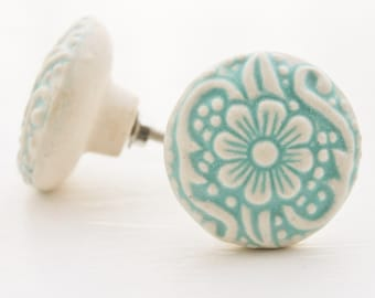 Cottage Chic Light Aqua And Cream -Daisy Design Flower Ceramic Drawer Knob Pulls-Dresser Hardware-Spring Home Decor-Natural Pale-Furniture