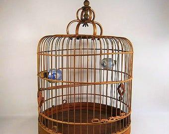 Birdcage / Vintage Birdcage / Wood Birdcage / Asian Birdcage / Oriental Birdcage / Handcrafted Birdcage / Birdcage With Porcelain Pots