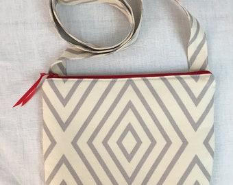 Gray Geometric Design Shoulder Bag, Crossbody Purse, Hipster Bag, Sling Bag