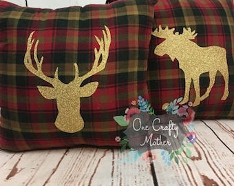 Gold Deerhead Plaid Pillows