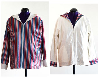 Hooded reversible striped jacket