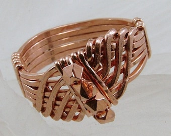 Copper WireWrapped Wave Ring - Any Size