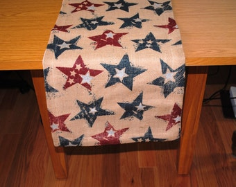 Burlap Table Runner Natural Stars Americana Red Blue Beige White One of a Kind