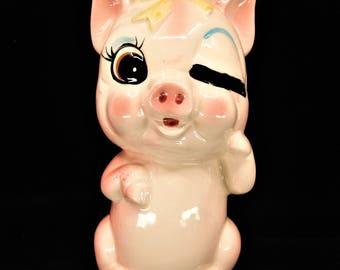 Winking Pig Coin Bank Ceramic Stamped Japan