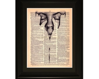 "Touch"".Dictionary Art Print. Vintage Upcycled Antique Book Page. Fits 8""x10"" frame"