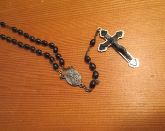 Vtg Olive Wood Rosary Beads Italy Black Silver Crucifix Cross / Vintage Rosaries / Religious Medal / Black Olive Wood Beads
