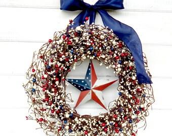 4th of July Wreath-Summer Wreaths-Patriotic RED  WHITE & BLUE Door Wreath-Summer Door Decor-Holiday Door Decor- Patriotic Home Decor-Gifts