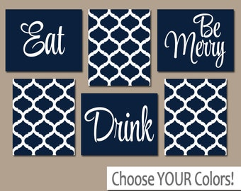 EAT DRINK Be Merry Wall Art, CANVAS Or Prints, Navy White Kitchen Decor,