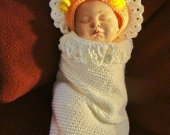Angel Cocoon and Halo hat Crochet Pattern PDF 404