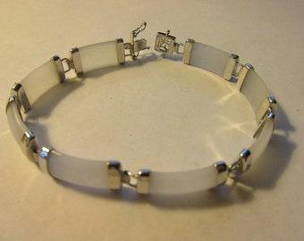 """White Jade Tiles Link Bracelet, 7 1/2"""""""